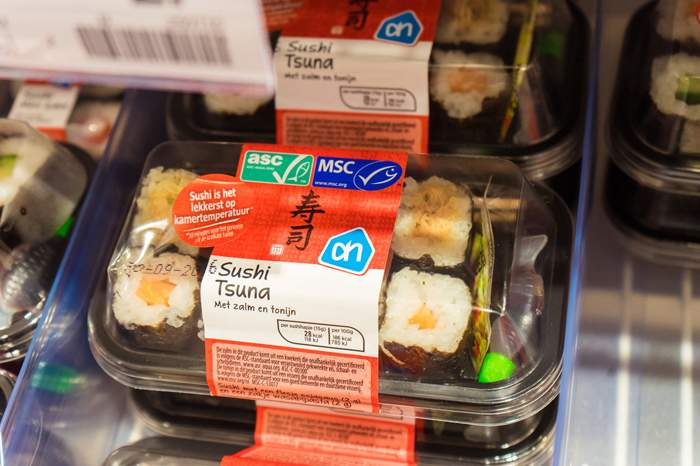 MSC \/ ASC certified sushi in Albert Heijn supermarket, Netherlands